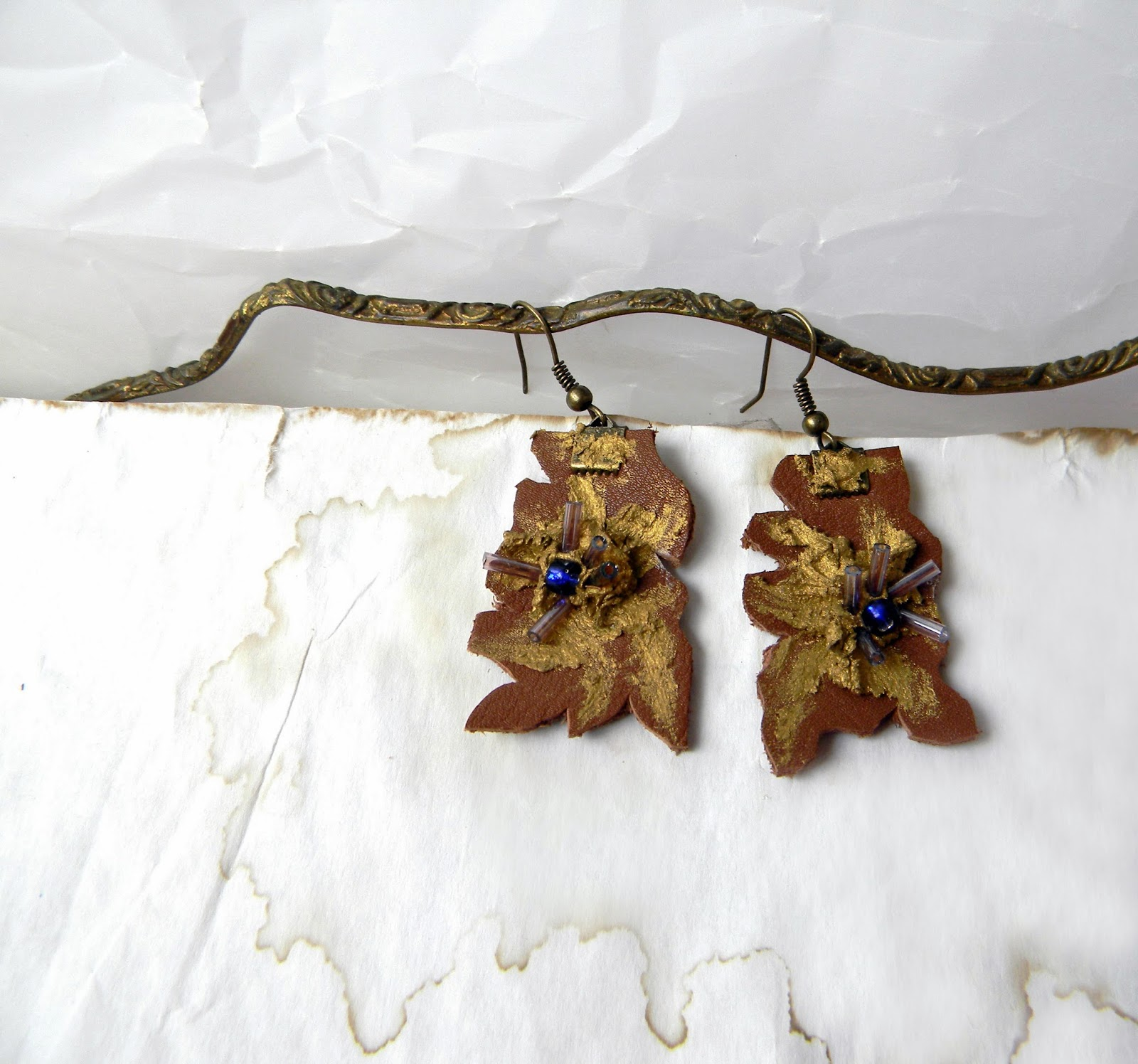 Mocha Brown Leather Earrings, Hand Cut Stylized Leafs Earrings with Blue Beads and Lilac Glass Beads Decor