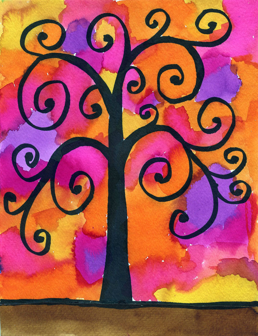 klimt watercolor tree art projects for kids