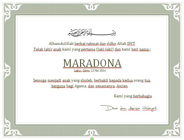 Download Contoh Kartu Ucapan Syukuran Kelahiran Anak doc Ms Word