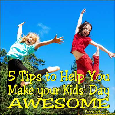 "As moms, we want our kids to be happy and have awesome days. But it's not always that easy.  Here are 5 tips to help you make your kids' day awesome with very little work and some great ""mommy time."""