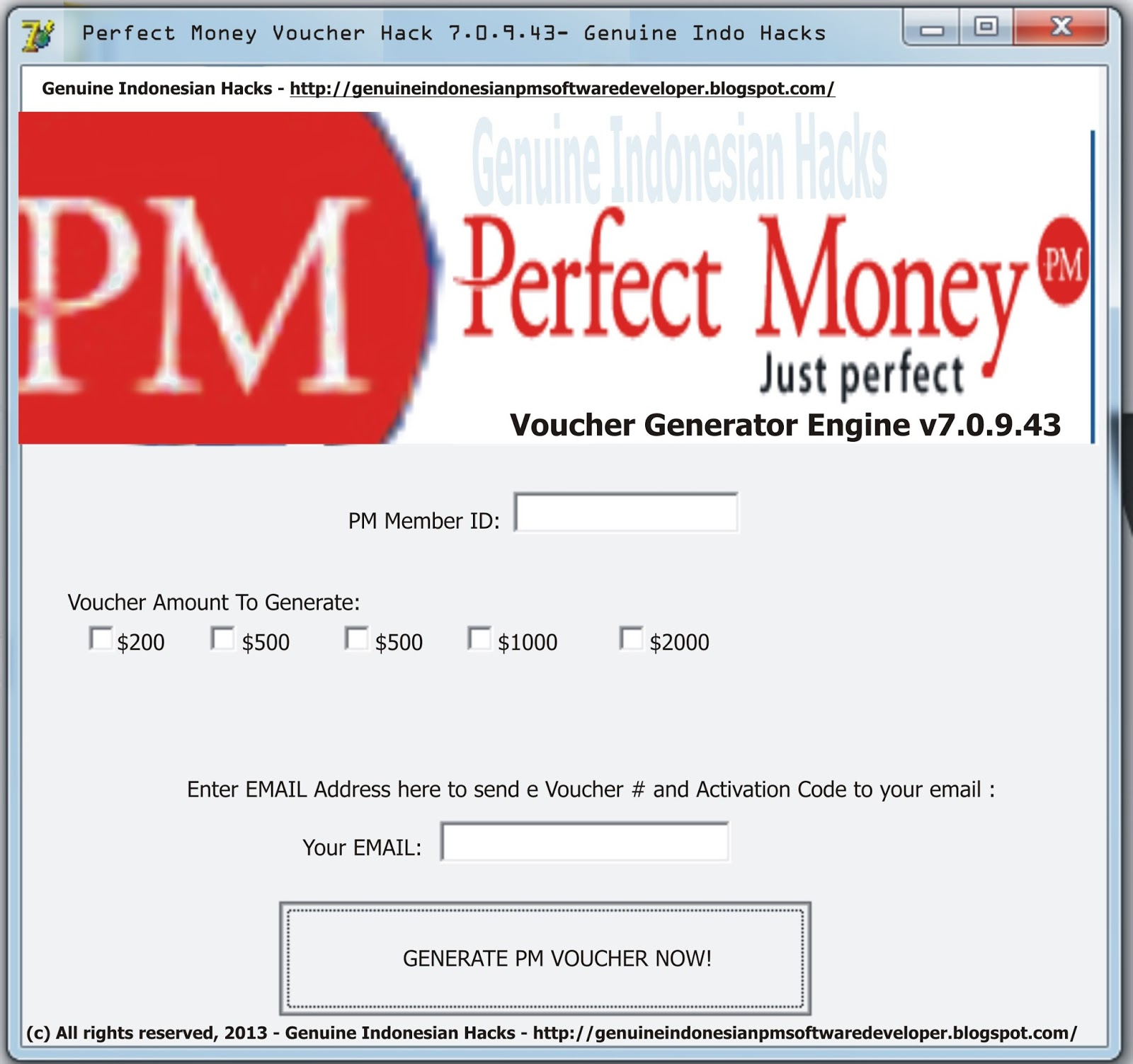 Perfect money voucher hack