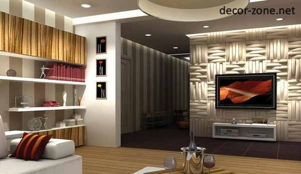 3d Panels With Own Lighting On The Wall Of The TV For Living Room