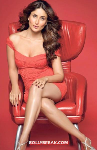 Kareena Kapoor in Red Dress sitting cross-legged Maxim - Kareena Kapoor Maxim Scans - 2012