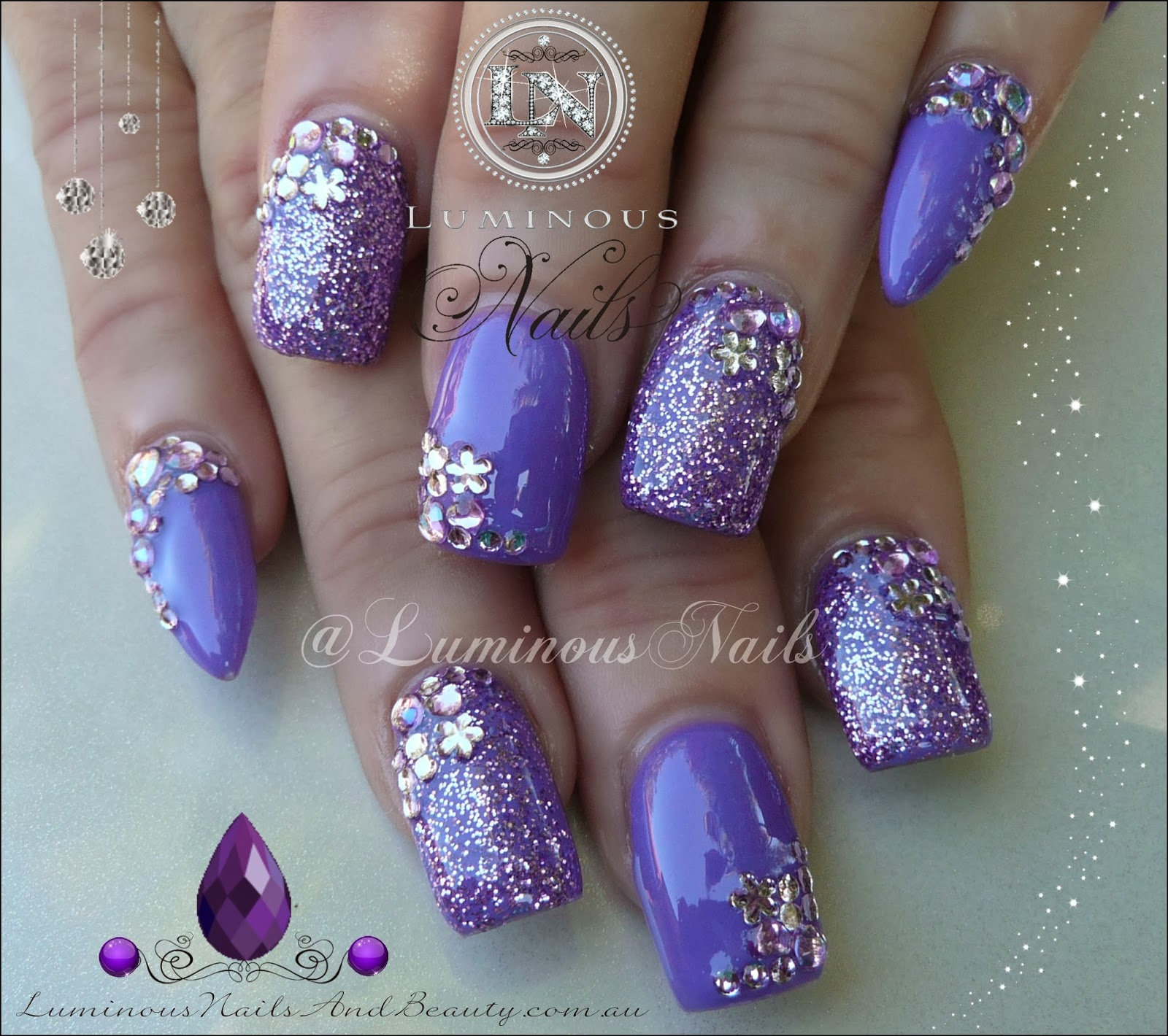 Funky Lavender Pointy Nails Frieze - Nail Art Ideas - morihati.com
