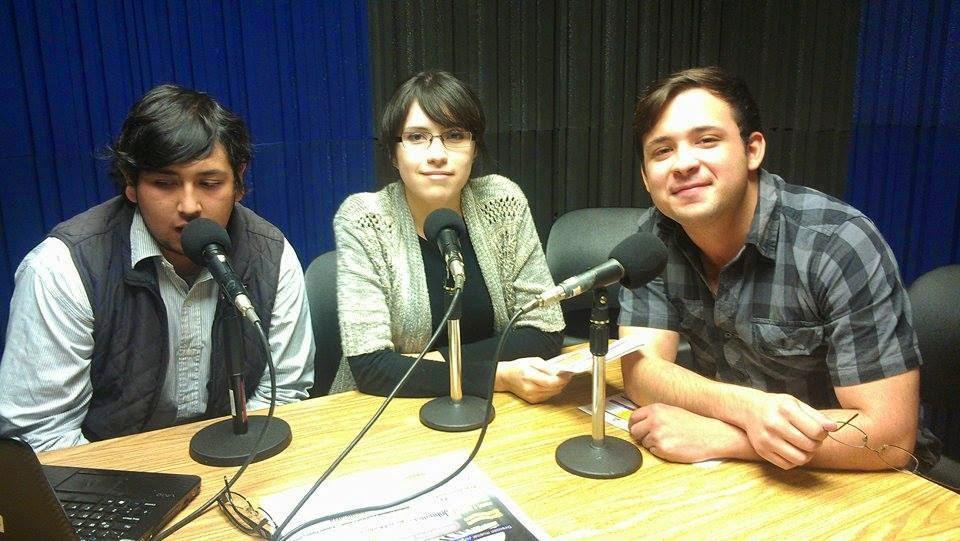 Erick Silva, Paola Lopez Kelly y Miguel Ochoa, en Radio Tec, con Guadalupe Romo
