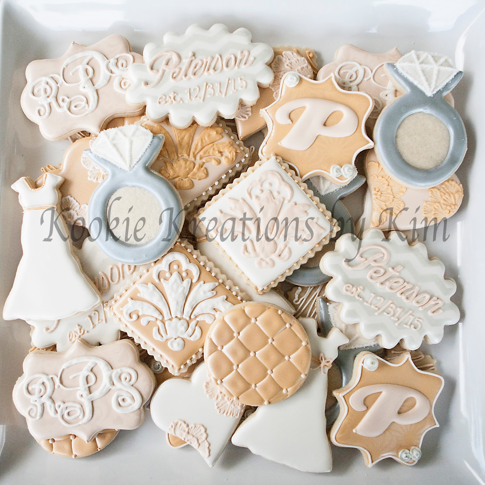 white ivory and champagne bridal shower cookies
