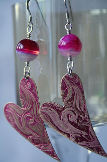 Cora: etched & patina-ed brass, agate, sterling silver, OOAK earrings :: All Pretty Things