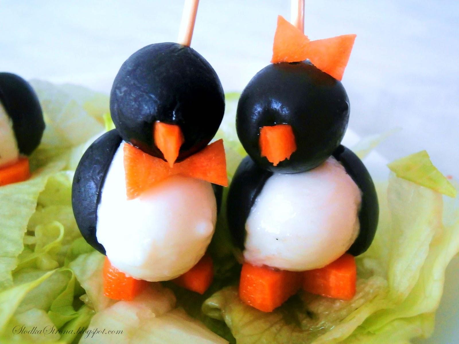 Pingwinki z Mozzarelli i Oliwek -  Przepis - Słodka Strona