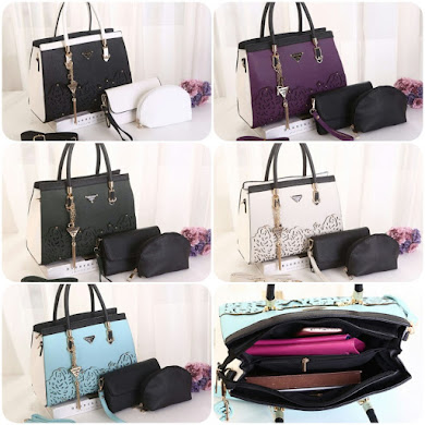 PRADA BAG ( 3 in 1 Set ) - ARMY GREEN , BLACK , SKY BLUE , PURPLE , GREY