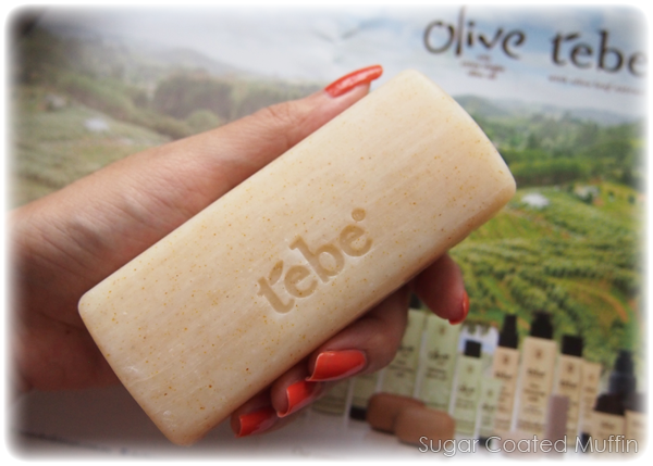 Tebe Exfoliating Soap Bar compared to the size of my hand