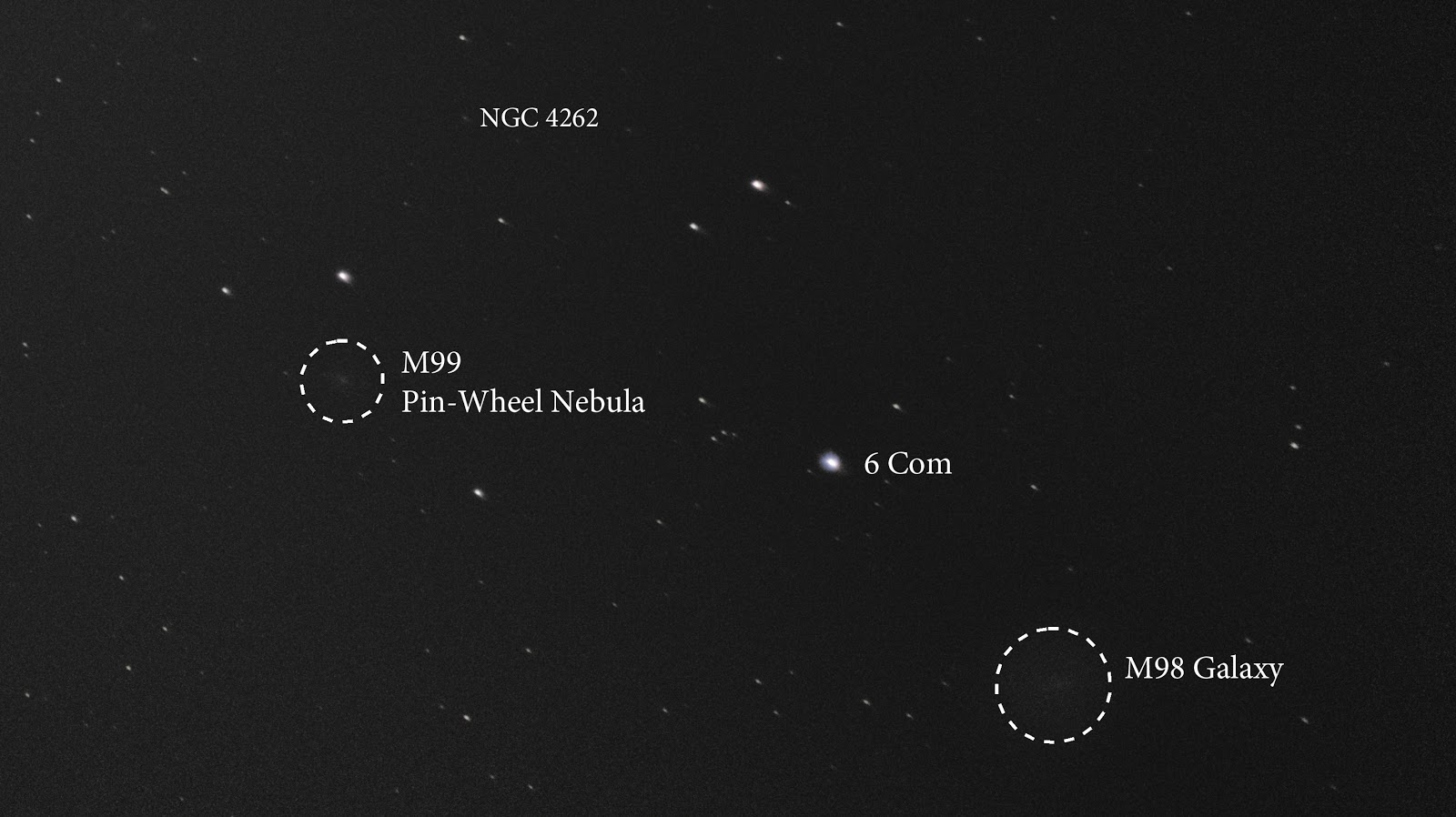 M99 the Pin-Wheel Nebula, and M98