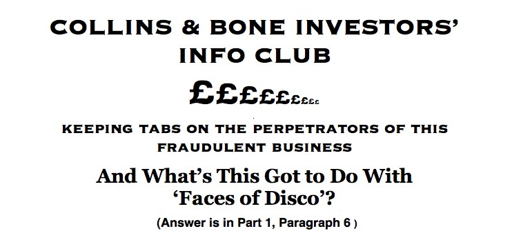 COLLINS & BONE INVESTORS' INFO CLUB