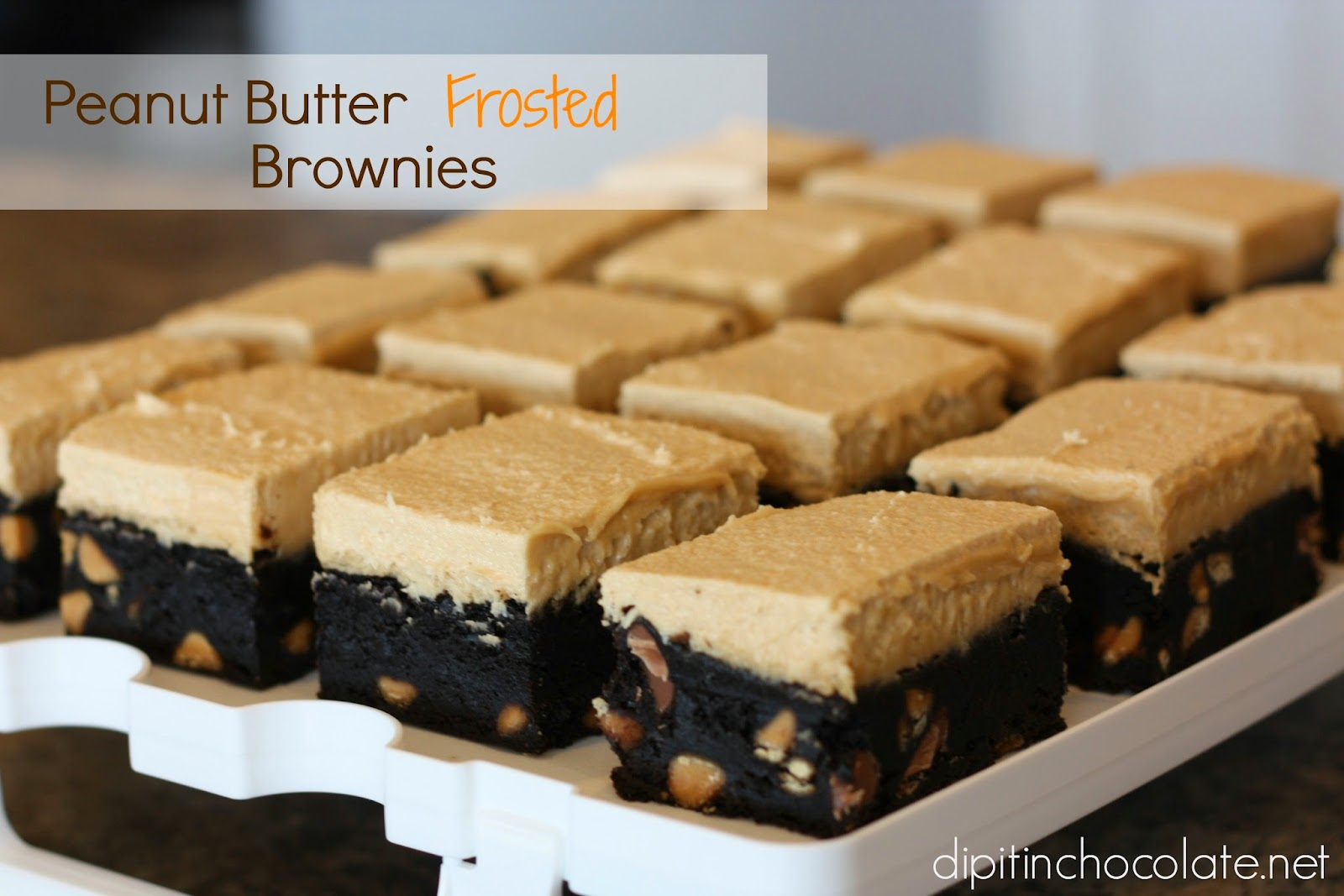 Peanut Butter Frosted Brownies ~ Dip it in Chocolate