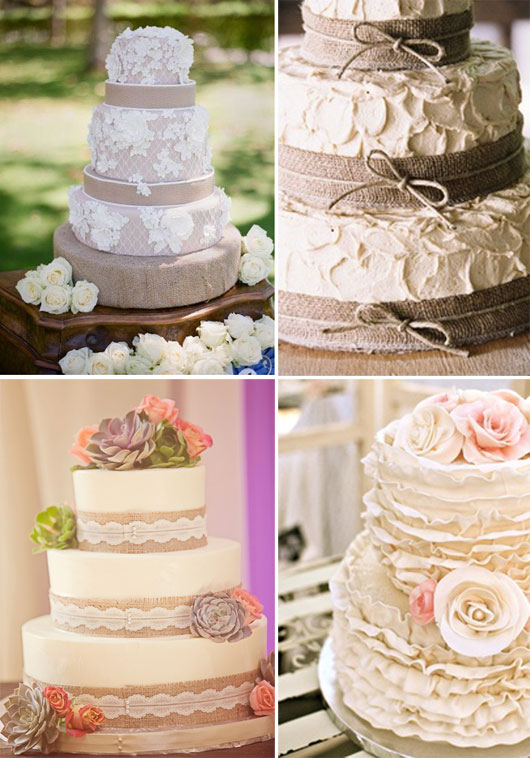 ... burlap wrapped wedding cake Style Me Pretty , Glamour and Grace , lace