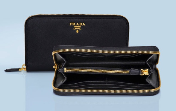 prada small zip wallet