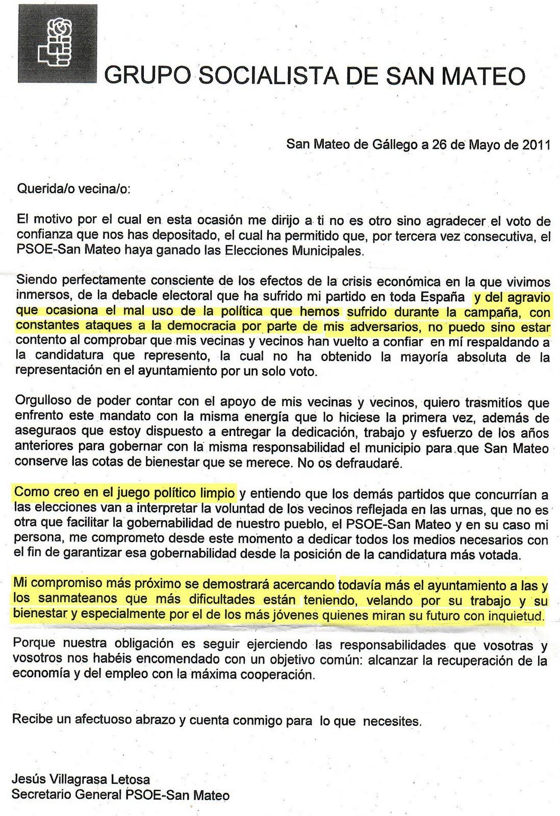 El blog de san mateo de g llego carta del caudillo de san - El tiempo en san mateo de gallego ...