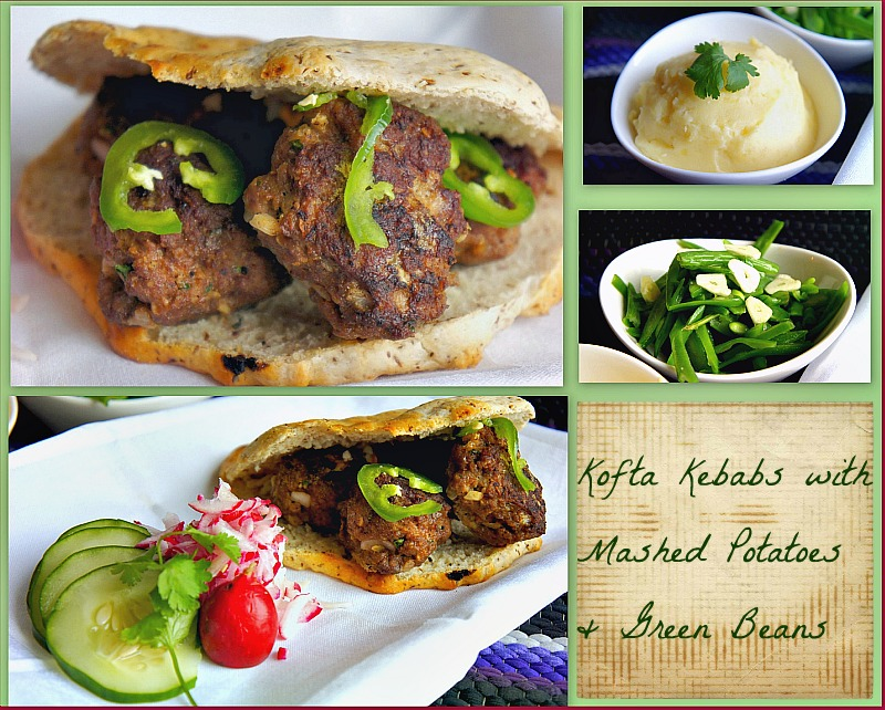Delicious and Easy lunch idea for Kofta Kebabs with Mashed Potatoes and Green Beans on the Side