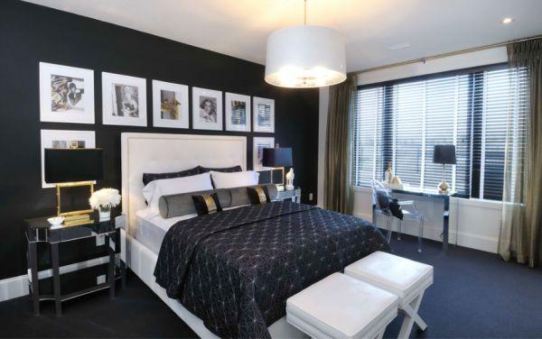 Dormitorios con paredes negras dormitorios con estilo - Habitaciones blancas y negras ...