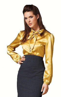 Shiny Gold Satin Blouses