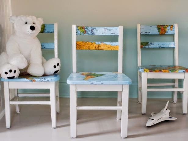 DIY decopage map chairs