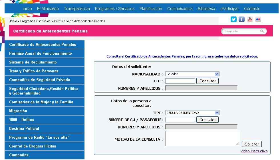 Certificado de antecedentes penales ecuador noticias for Ministerio del interior antecedentes