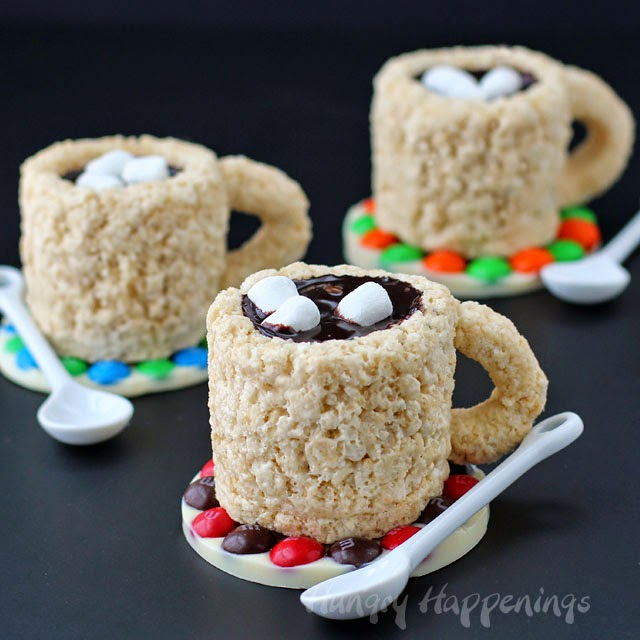 Cafe Mocha Rice Krispie Treat Cups filled with coffee flavored chocolate ganache make a wonderful adult friendly party treat. Tutorial at HungryHappenings.com