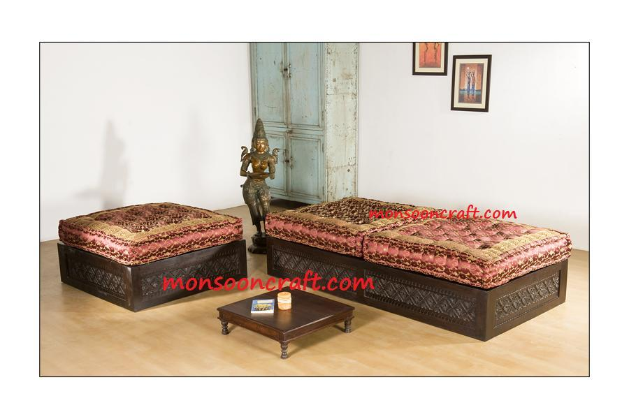 Carved Indian Backless Sofa Set Design