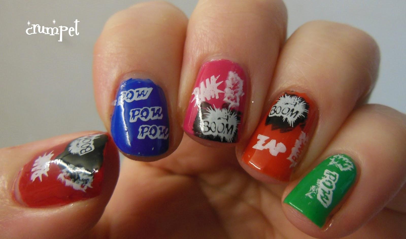 Colorful Comic Nail Art Crest - Nail Art Ideas - morihati.com