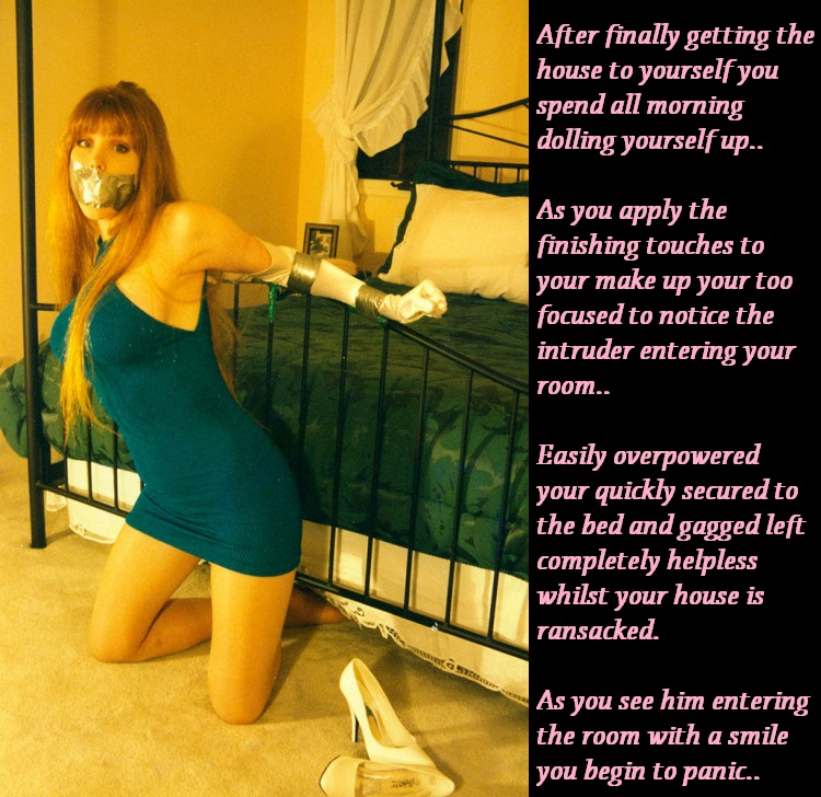 Candis Place TG Captions: Home alone - Caught by an intruder