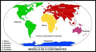 Mapamundi, modelo de 5 continentes