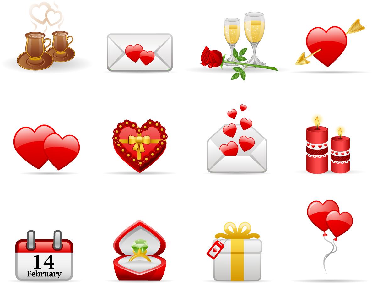 バレンタインデーのハート素材 Heart valentine day elements vector イラスト素材3