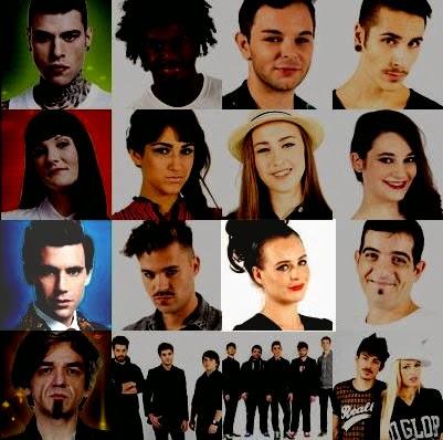 foto squadre con finalisti x-factor 2014 ed Emma Morton evidenziata