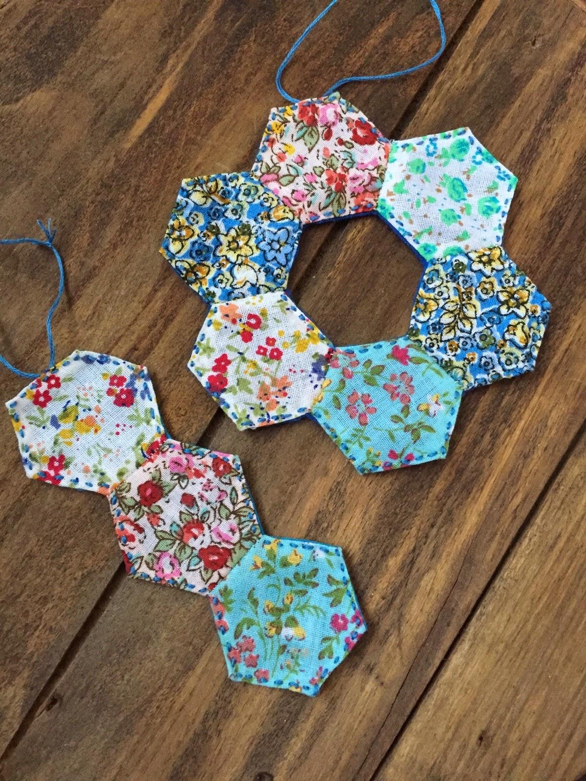 hexagon paper piecing method hanging decorations