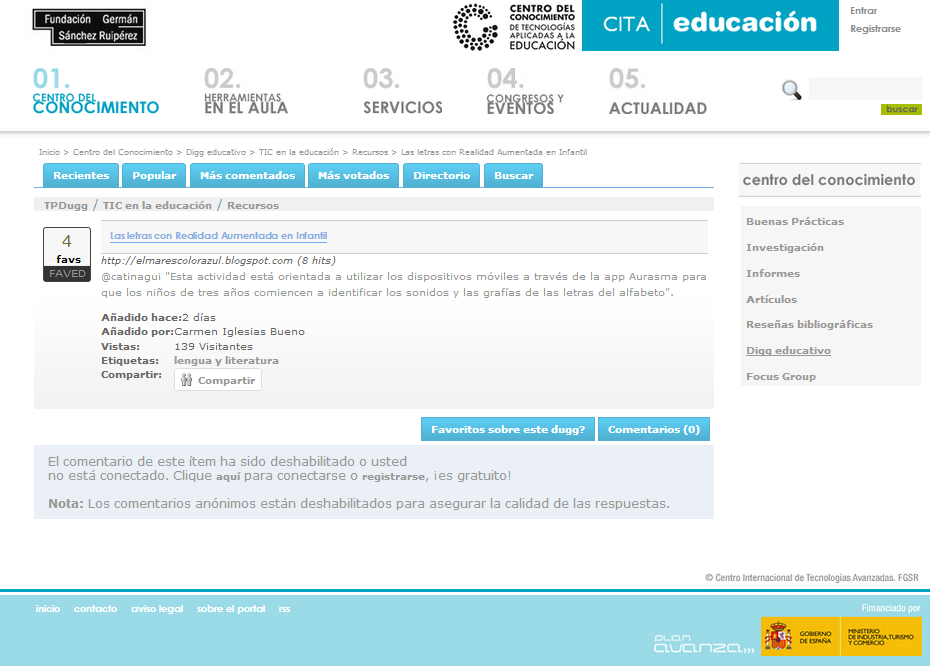 NOS PUBLICAN DIGG EDUCATIVO EN CITA