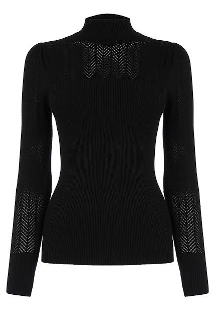 pattern sheer roll neck top, black chevron top,