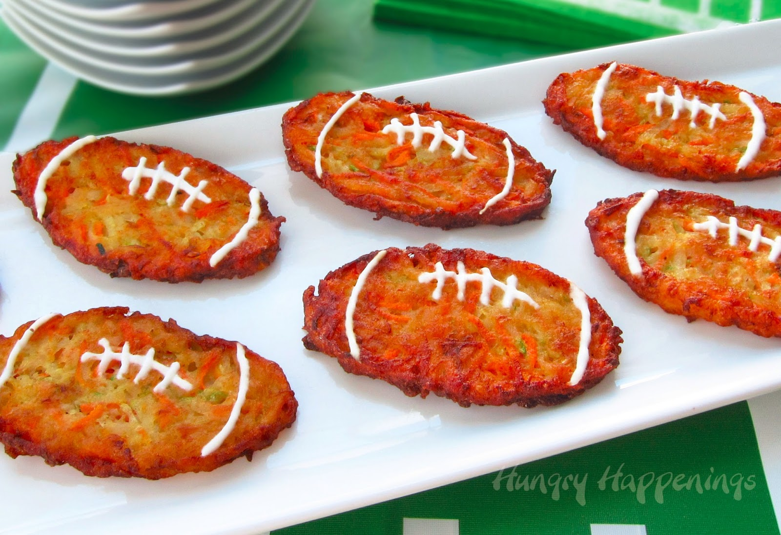 Super Bowl Appetizers Football Shaped Zucchini Fritters