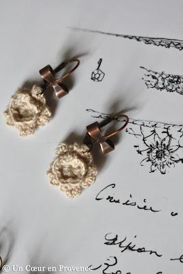 Boucles d'oreilles fleur au crochet