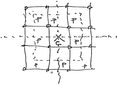 Human 39 s scribbles zenghelis notes for Architecture 9 square grid