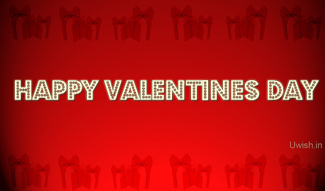 Happy Valentines Day with red background and gifts. Valentines day wishes and greetings 2013