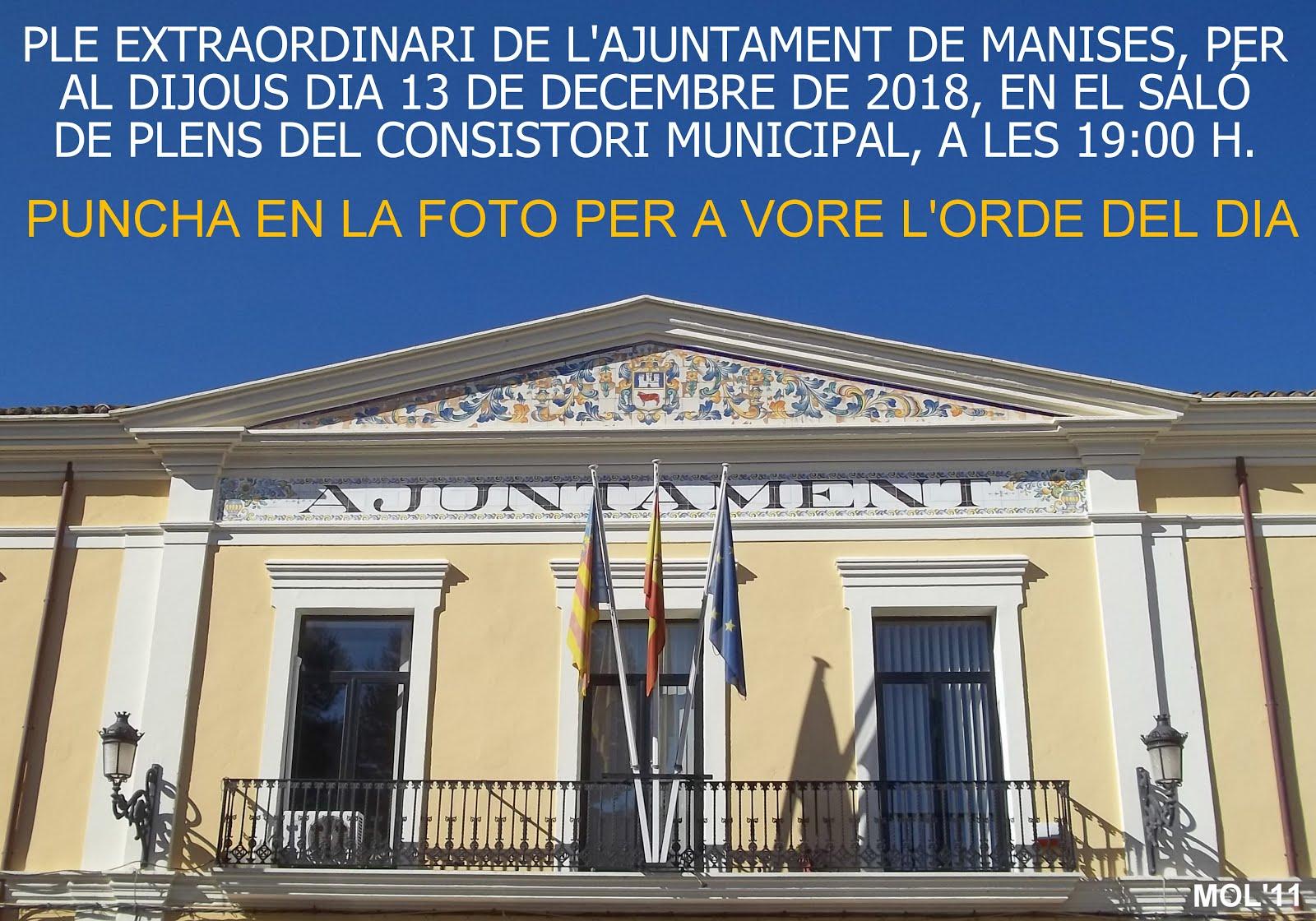 13.12.19 PLENO EXTRAORDINARIO DEL AYUNTAMIENTO DE MANISES