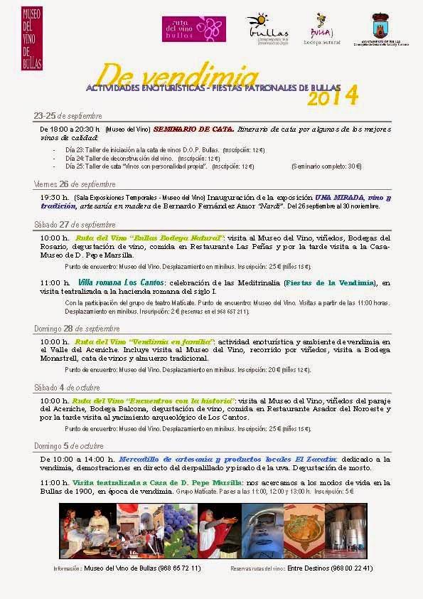 """Actividades Enoturísticas """"De Vendimia"""" Bullas 2014"""