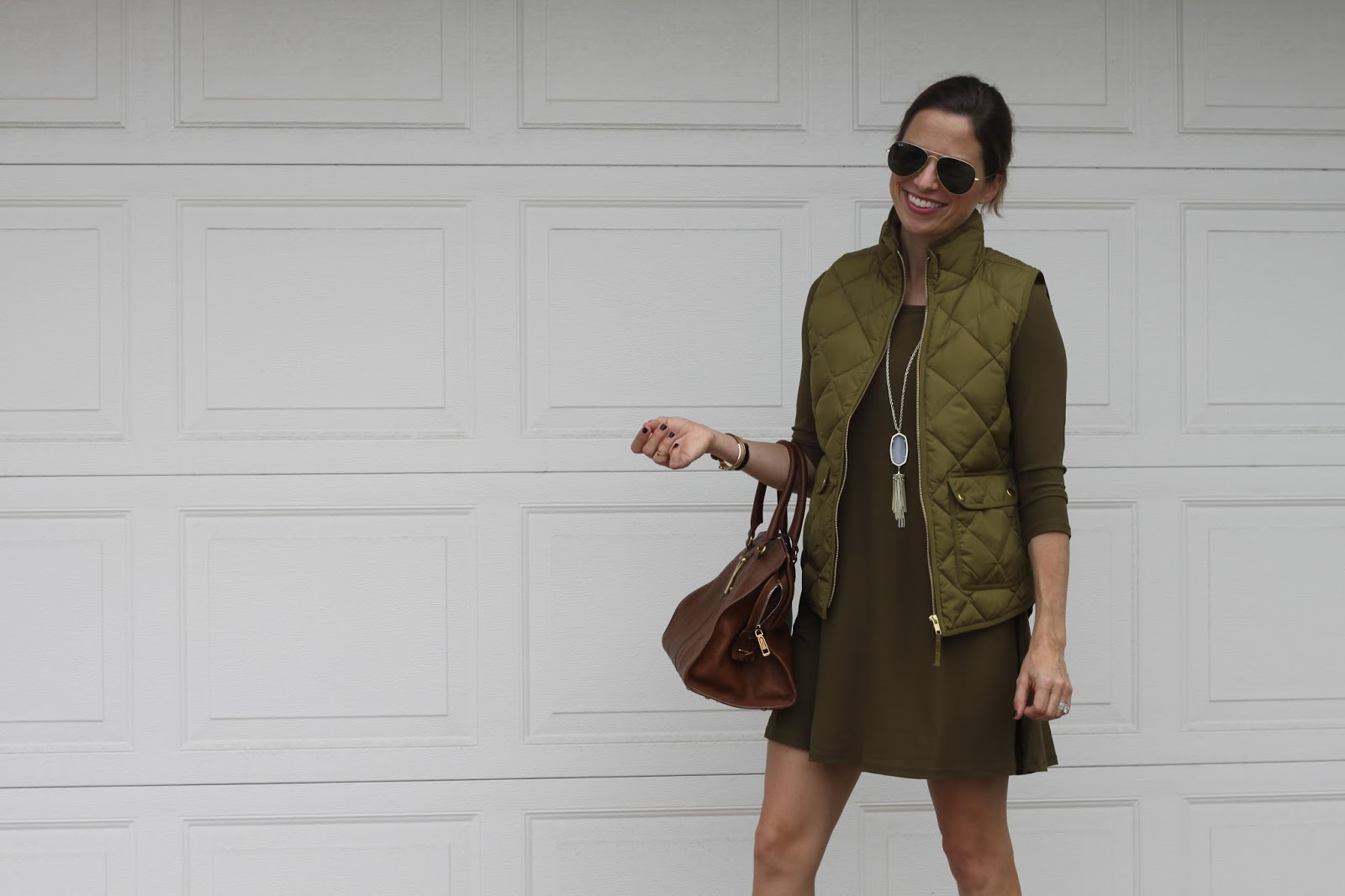 olive green dress and vest