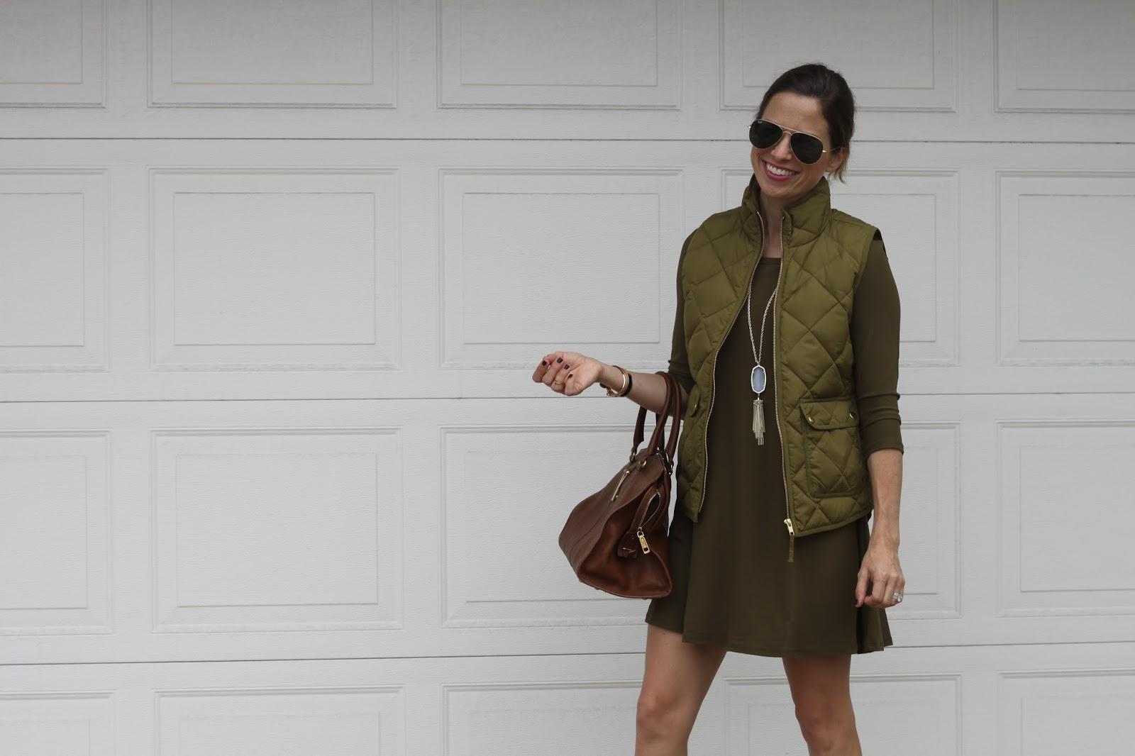 olive green dress and vest
