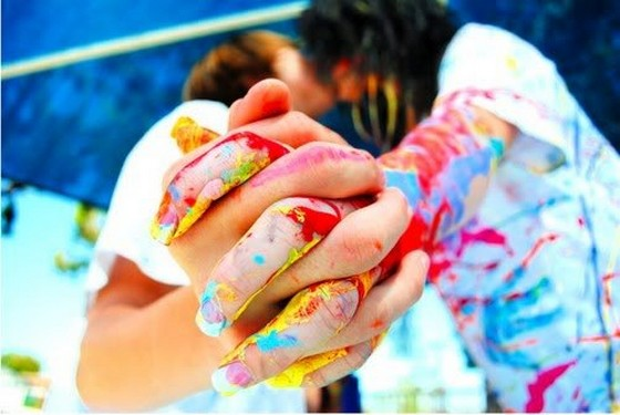 girl, boy, colorfull, kiss, love, holding, hands | 4loveimages