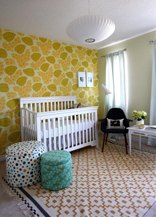 Nursery accent wall {using wallpaper}