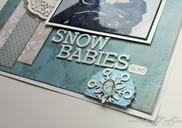 Snow Babies layout for January 2014 sketch from Practical Scrappers -- www.mightycrafty.me