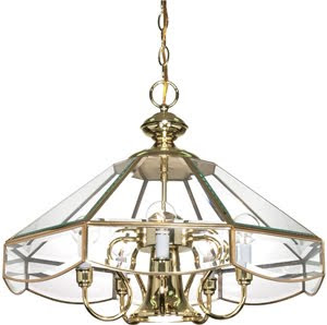 Nuvo 60-513 5 Light 22 Inch Chandelier Beveled Glass With Downlight Polished Brass