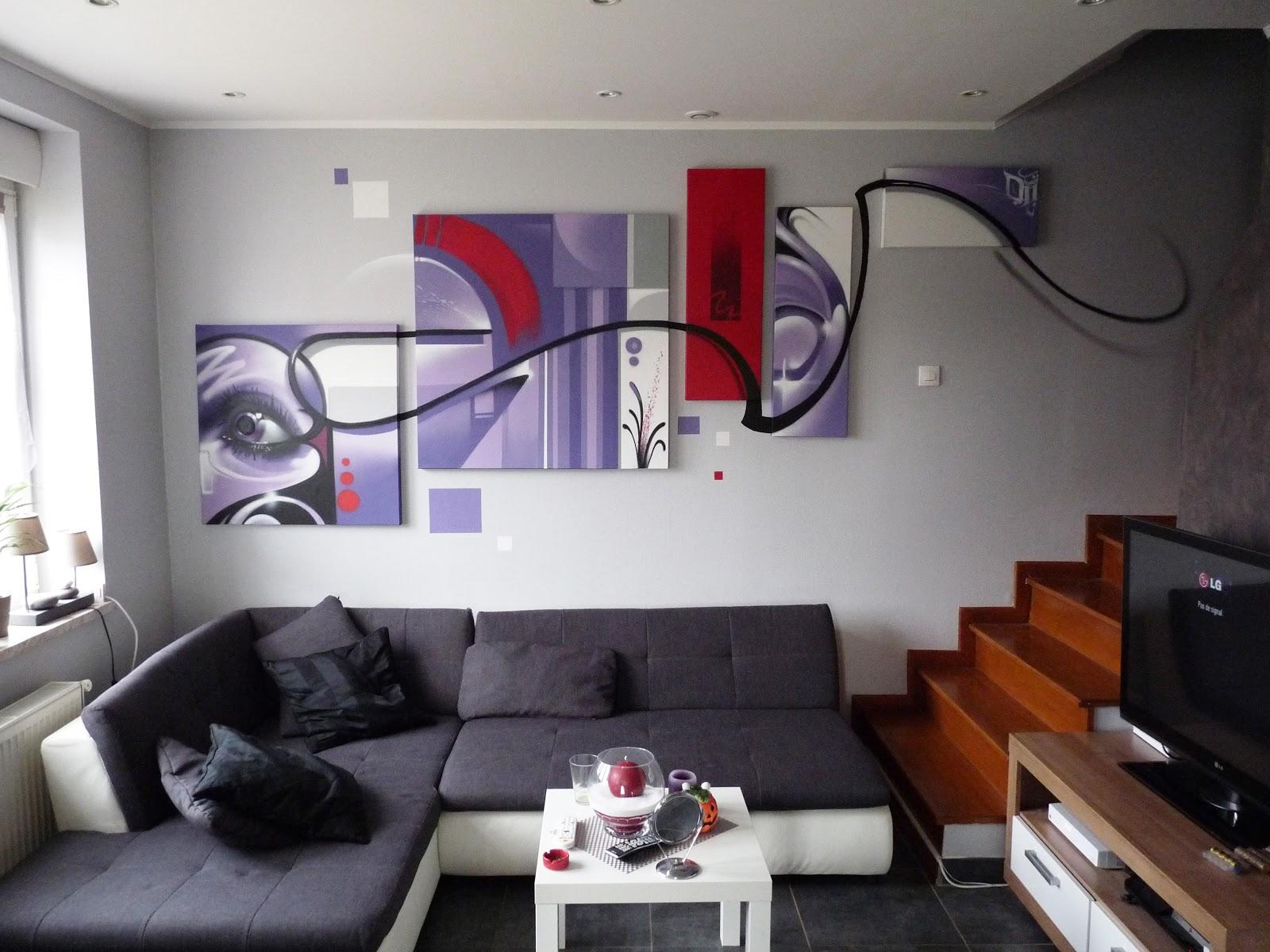 Gimus d coration d 39 int rieur mur salon toiles - Decoration mur salon ...