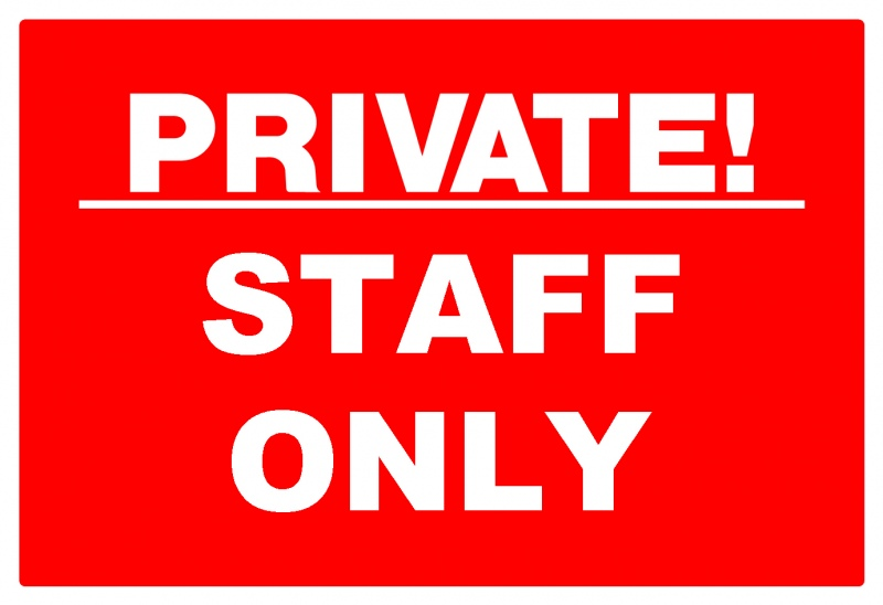 Staff only sign brushed aluminium acrylic 190x45mm uk office direct