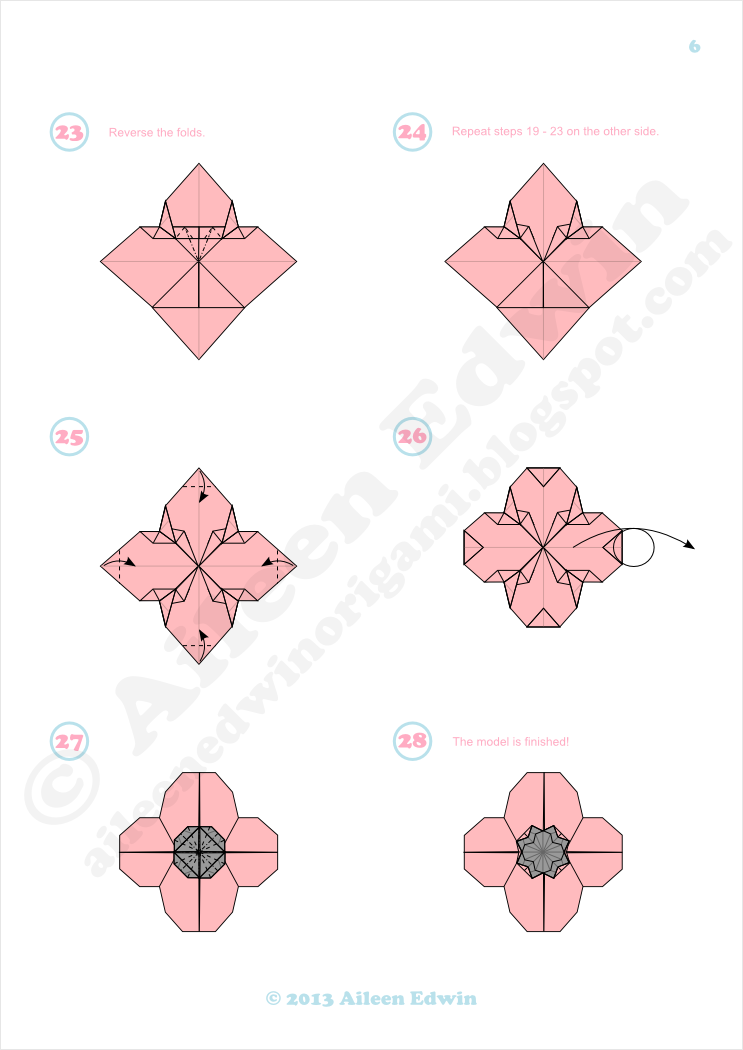 Origami Poppy Diagrams Dual-Coloured (Aileen Edwin)